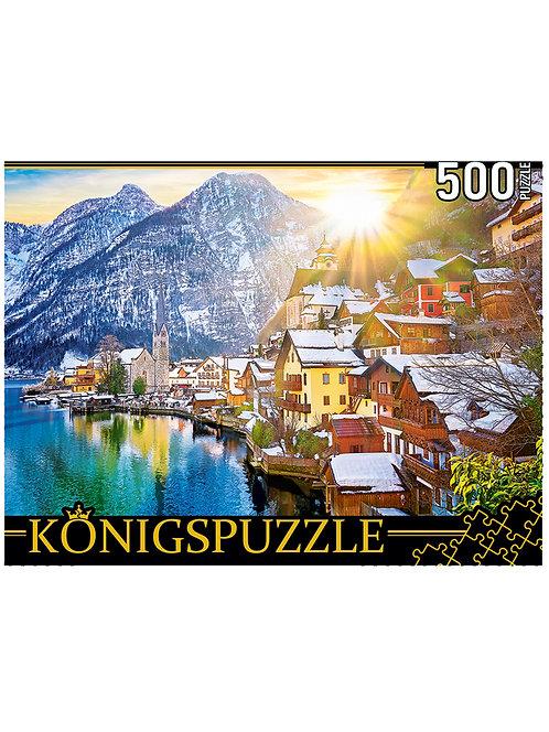 Konigspuzzle. ПАЗЛЫ 500 элементов. ГИK500-3572 АВСТРИЯ. СНЕЖНЫЙ ГАЛЬШТАТ