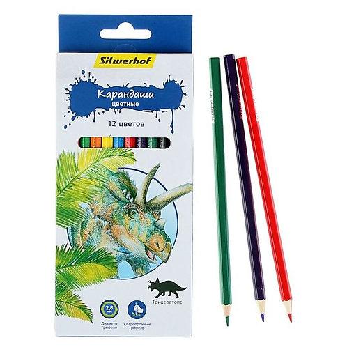"""Карандаши цветные 12цв """"Динозавры"""" SILWERHOF 134197-12 в картонной упаковке (12ш"""