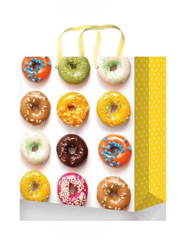 Optima Пакет подарочный с глянцевой лам. 11,5-14,5*6 см (S) Пончики в ассортимен