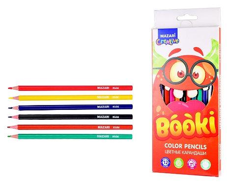 """Карандаши цветные 12цв """"Booki"""" корпус шестигранные MAZARI M-6168-12 в картонной"""