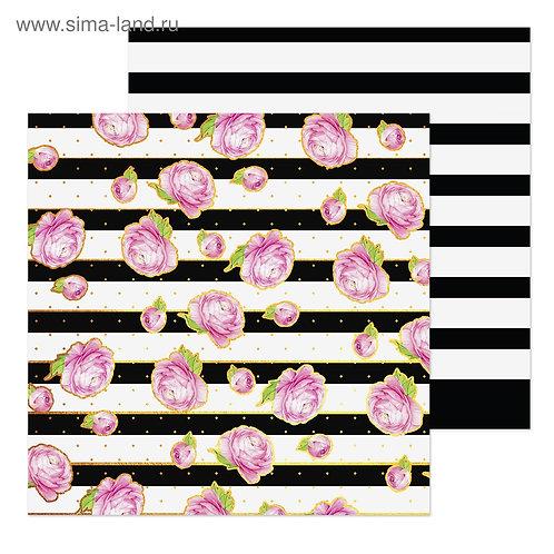Бумага для скрапбукинга «Черно‒белый», 20 × 20 см, 180 г/м