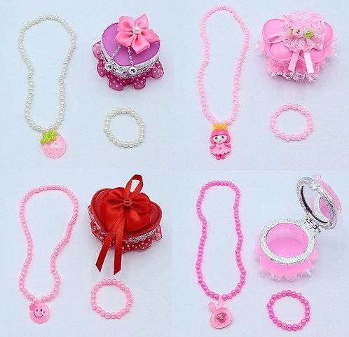 Набор для девочек цепочка+браслет+кулон+зеркало KA-8002 в пластиковой шкатулке