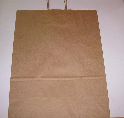 Пакет подарочный 350х260х150мм (M) крафт без рисунка с крученой ручкой MILAND 39