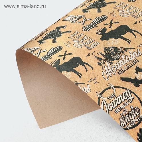 Бумага упаковочная крафтовая Be brave, 50 × 70 см
