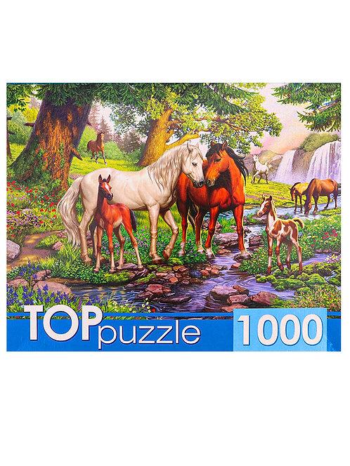 TOPpuzzle. ПАЗЛЫ 1000 элементов. ХТП1000-4146 Лошади в прекрасной долине