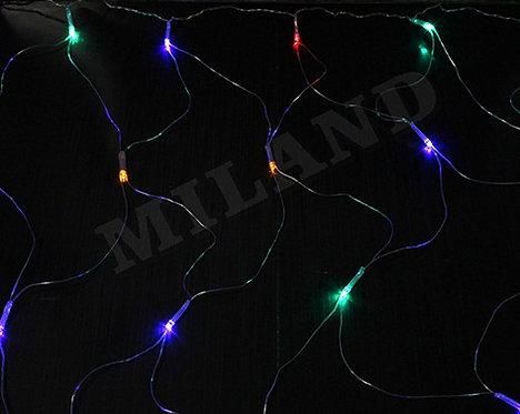 Гирлянда-сетка электрическая 1х1м 96лампочек 8режимов белый провод MILAND