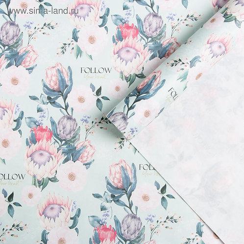 Бумага упаковочная крафтовая Flowers , 50 × 70 см 3903225 5479643