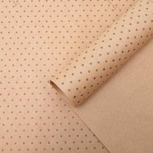 Бумага упаковочная крафт «Для тебя», бежевый горох, 50 х 70 см