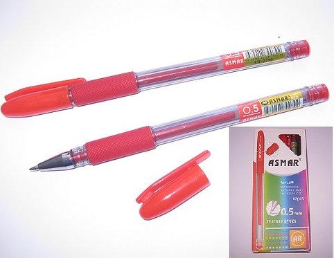 Ручка гелевая с резиновым держателем прозрачный корпус КРАСНАЯ ASMAR AR-2290 (12