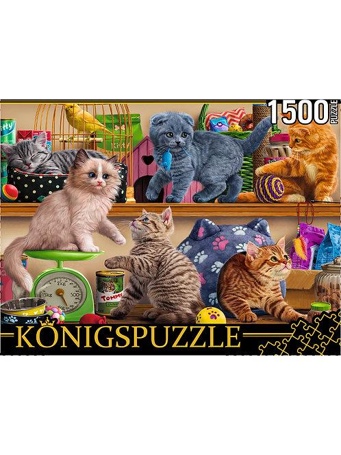 Konigspuzzle. ПАЗЛЫ 1500 элементов. ФK1500-3508 КОТЯТА В ЗООМАГАЗИНЕ