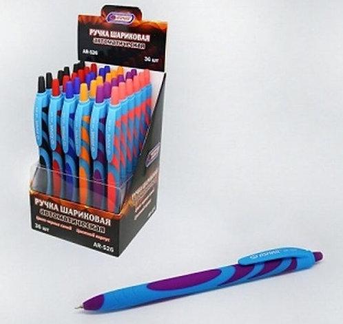 Ручка автомат корпус антискользящий цветной СИНЯЯ ASMAR AR-526 (36шт/уп)