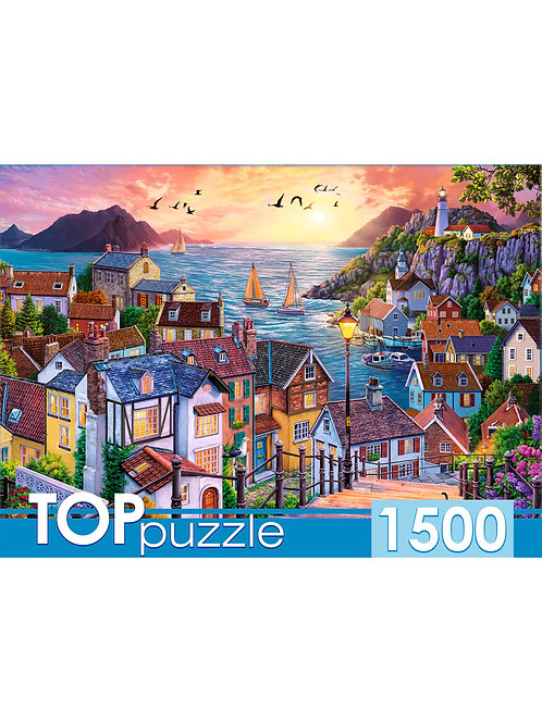 TOPpuzzle. ПАЗЛЫ 1500 элементов. ХТП1500-1591 Приморский город на закате