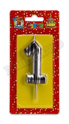 """Свечи для торта """"№1"""" в полоску золото/серебро КАРНАВАЛИЯ С-2500 на планшете"""