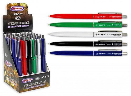 Ручка автомат корпус цветной СИНЯЯ ASMAR AR-529 (36шт/уп)