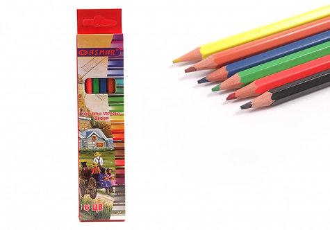 Карандаши цветные 6цв шестигранные 3М ПЛАСТИК ASMAR AR-9910-6 в картонной упаков