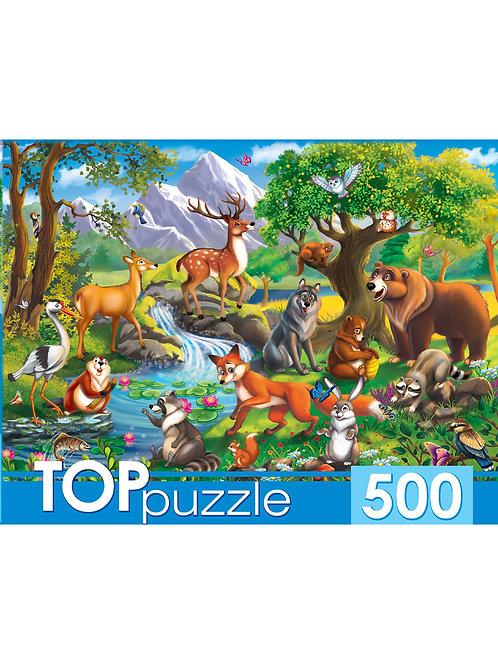 TOPpuzzle. ПАЗЛЫ 500 элементов. ХТП500-4129 ЛЕСНЫЕ ЖИВОТНЫЕ