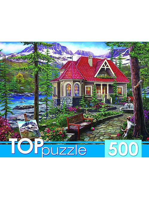 TOPpuzzle. ПАЗЛЫ 500 элементов. ХТП500-5729 ЧУДЕСНЫЙ ДОМИК В ГОРАХ