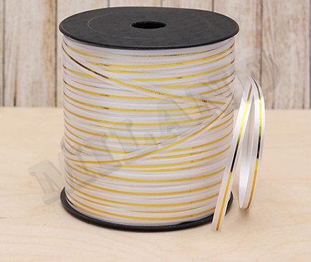 Лента упаковочная Золотые линии (5 мм.*225 м.) белый БЛ-8102