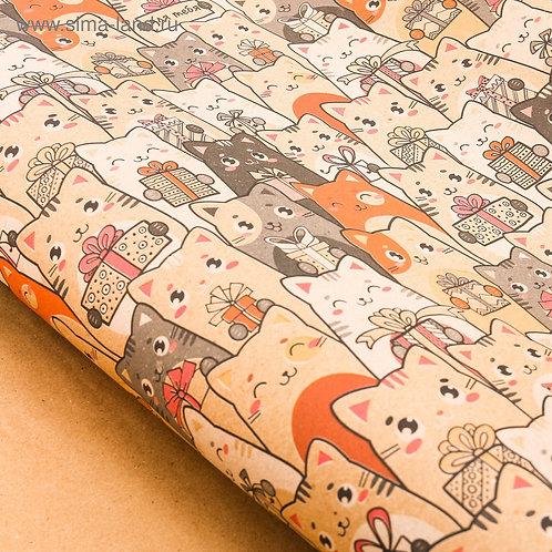 Бумага упаковочная крафтовая «Котики с подарками», 70 × 100 см