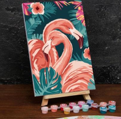 Картина по номерам на холсте с подрамником «Тропический фламинго» 20×30 см