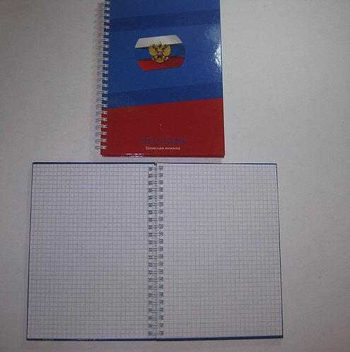 Записная книжка А5 80л ТВЕРДАЯ ОБЛОЖКА на спирали с рисунком КЛЕТКА PROF-PRESS 8