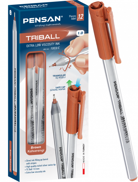 "Ручка шариковая ""Triball ball point pen"" корпус трехгранный КРАСНАЯ ТУРЦИЯ PENSA"
