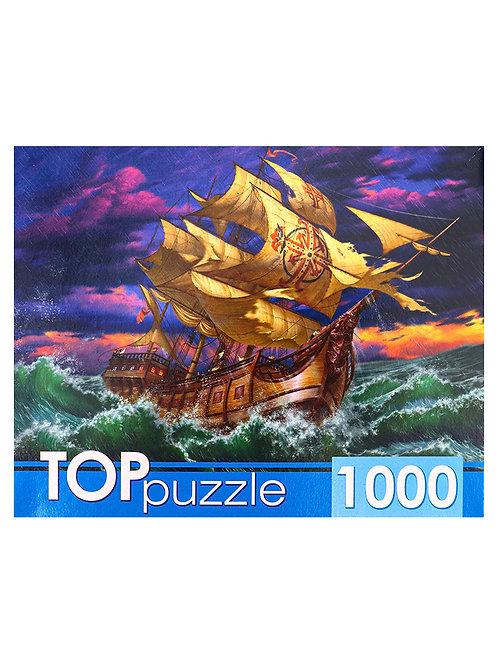 TOPpuzzle. ПАЗЛЫ 1000 элементов. ХТП1000-4150 Парусник в бушующем море