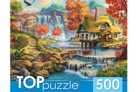 TOPpuzzle. ПАЗЛЫ 500 элементов. ХТП500-4232 ДОМИК И ВОДОПАД