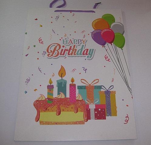"""Пакет подарочный 420х310х120мм (L) глянец """"Happy Birthday"""" SY812L/F036L (12шт/уп"""
