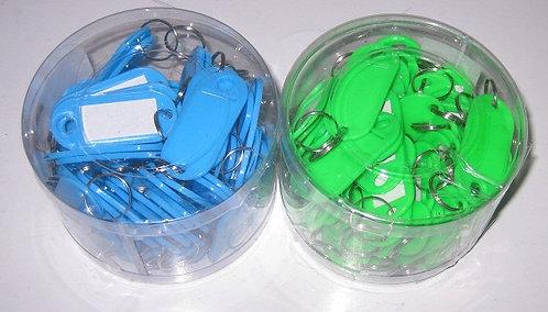 Набор брелков-бирок для ключей 60шт пластик цветные ASMAR AR-1066 в пластиковой