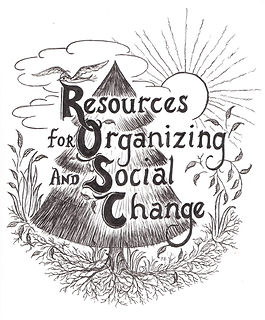 The Resources for Organizing and Social Change logo. A tree is surrounded by roots, grass, clouds, and the sun. The title of the organization is written across the middle of the logo.