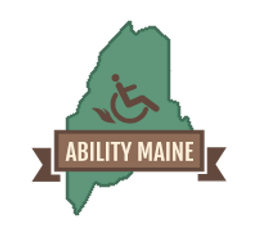 The Abiliy Maine logo. A dark green profile of the state of Maine is covered with a brown banner containing the title of the orgaization. Above the banner is the traditional icon of a person in a wheelchair. The wheelchair is tilted back slightly, and flames are coming out from behind the wheels.