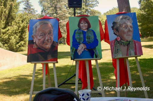 The unveiling of the paintings of Gil Broberg, Kathy McInnis-Misenor, and Helen Bailey.