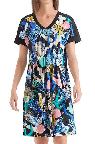 Sukienka z nadrukiem akwarystycznym Marc Cain