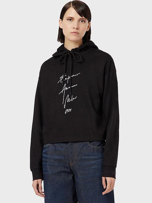 """Czarna bluza z sygnowanym logo """"Milano 1981"""" Emporio Armani"""