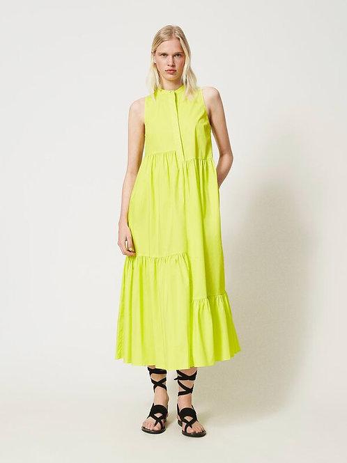 Długa neonowa sukienka z popeliny TWINSET