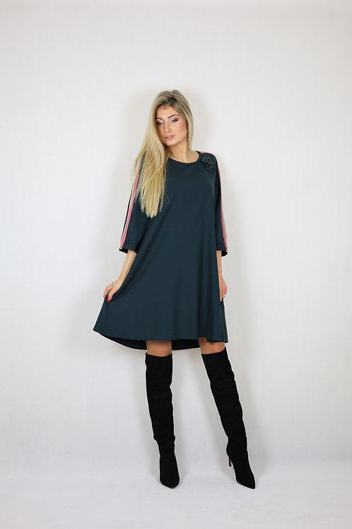 Zielona sukienka z broszką BEATRICE .b