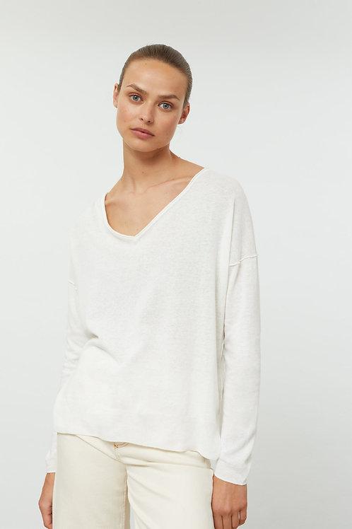 Cienki sweter ecru z mieszanki lnu i bawełny Closed