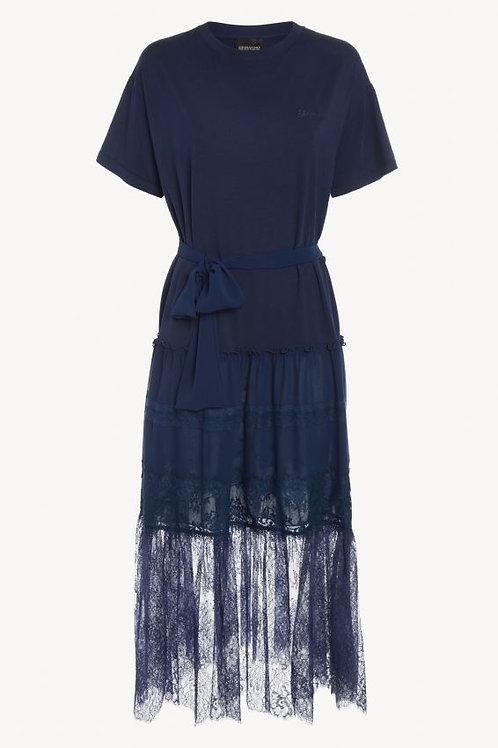 Długa granatowa sukienka z falbaną z żorżety Ermanno Scervino