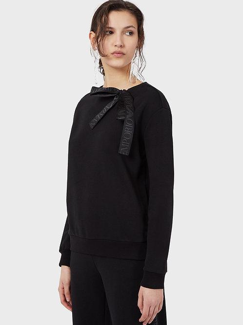 Bluza z żakardową wstążką z logo Emporio Armani