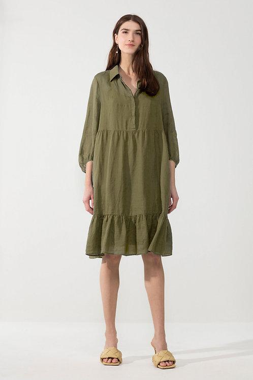 Oliwkowa sukienka koszulowa z ramii Luisa Cerano