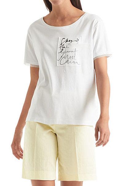 """Biały t-shirt """"Sky is the limit"""" Marc Cain"""