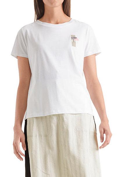 Biały t-shirt z nadrukiem 3D Marc Cain