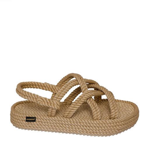 "Beżowe sandały ""Bodrum"" na platformie BOHONOMAD"