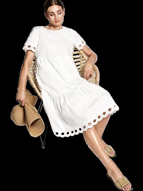 Warstwowa sukienka z podziurowanym haftem RIANI
