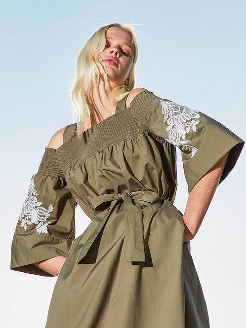 Bawełniana sukienka z odkrytymi ramionami i haftem TWINSET