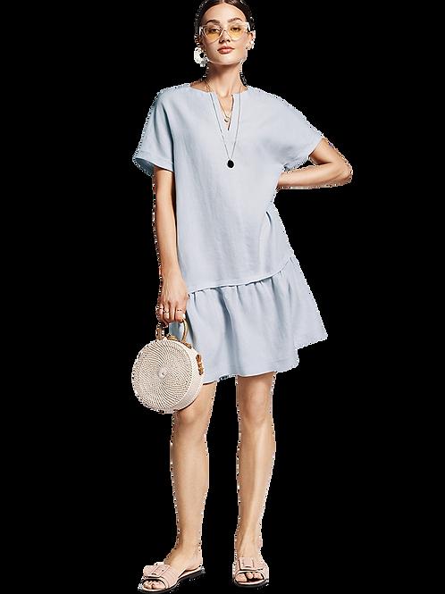 Lniana sukienka z odcinaną spódnicą RIANI
