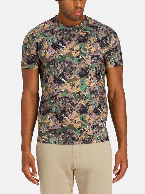 "T-shirt multikolor z nadrukiem ""Tubka farby"" ICEBERG"