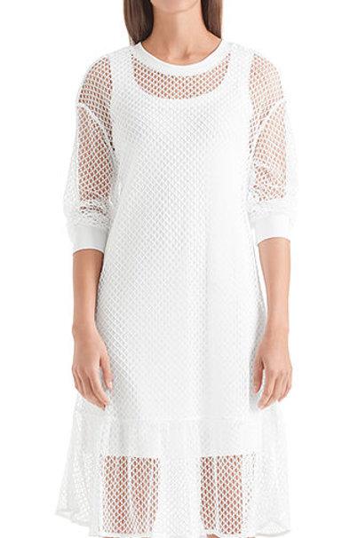 Biała sukienka z siatki Marc Cain