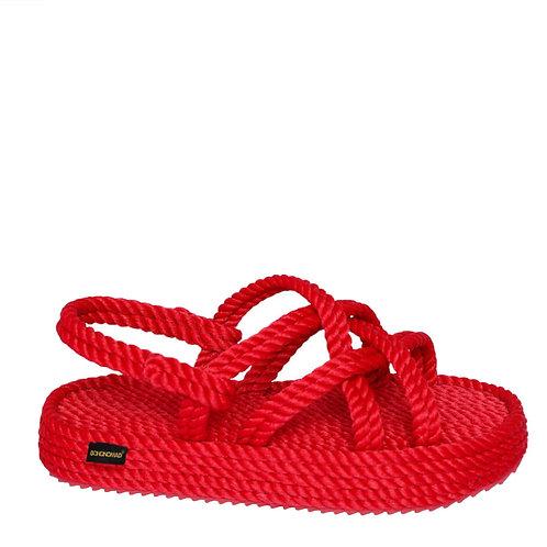 """Czerwone sandały """"Bodrum"""" na platformie BOHONOMAD"""